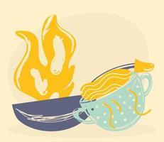 cooking saucepan colander vector