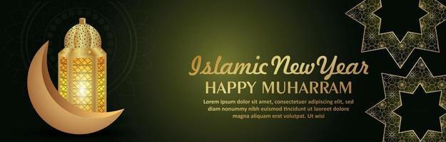 banner de celebración de muharram feliz año nuevo islámico con linterna dorada islámica y luna vector