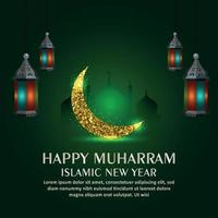 Happy muharram islamic new year celebration background with glitter golden moon and lantern on green background vector