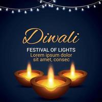 Shubh diwali festival of light greeting card with diwali diya vector