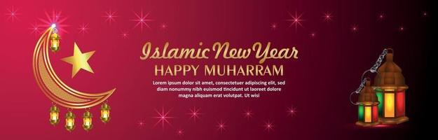 Creative vector illustration of islamic new year celebration banner with golden moon and lantern