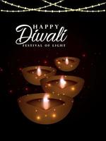 Indian festival happy diwali festival of light invitation flyer vector