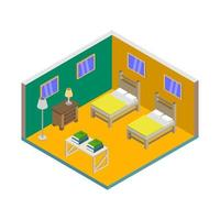 Isometric Bed Room On Background vector