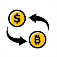 bitcoin to dollar rate icon vector design