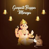 Ganpati bappa moreya celebration background with vector illustration of lord ganesh