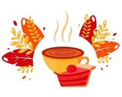 Coffee cup with cherry pie on autumn leaves background vector