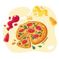 Pizza with tomatoes onion olives basil cheese ketchup and mustard vector