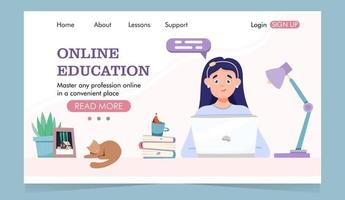 Online education landing page girl sits at a laptop and books vector