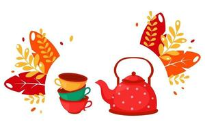 Colorful cups and kettle Set of dishes Coffee and tea time vector