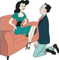 man kneel in front of a woman perfect for design project vector