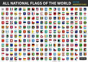 All official national flags of the world  Inserted design  Vector
