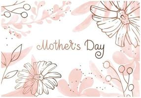 Minimal floral background with pink and golden tropical flowers and leaves Vector illustartion with lettering Mothers Day holiday