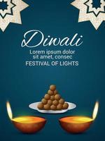Happy diwali festival of light celebration flyer with diwali diya vector