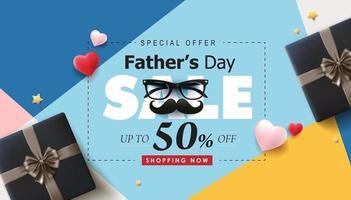 Banner de venta de feliz día del padre con regalo para papá sobre fondo blanco. vector