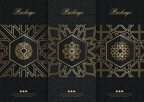 Vector set packaging templates black golden labels and frames for luxury products in trendy linear style