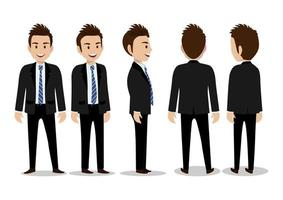 Cartoon character with business man in suit for animation vector