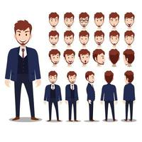 Cartoon character with business man in suit for animation flat vector illustration