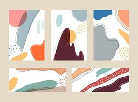 Set of advertising hand drawn organic shapes and lines pastel color pattern collage on white background vector