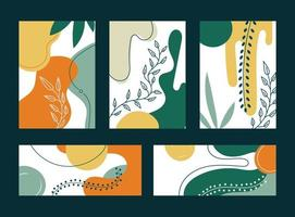 Set of spring collages hand drawn organic shapes and leaves on white background vector