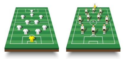 Soccer cup formation and tactic  Set of perspective view football field and players with jersey on white isolated background  Vector for international world championship tournament 2018 concept