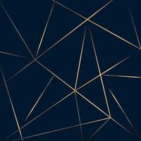 Abstract golden lines mesh low polygon pattern on dark blue background luxury style vector