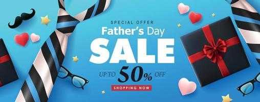 Happy Fathers Day Sale banner background template vector