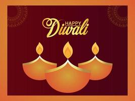 Happy diwali indian festival celebration greeting card diwali the festival of light vector