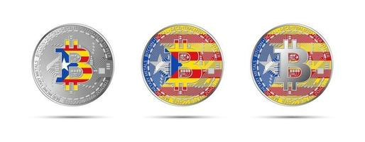 Three Bitcoin crypto coins with the flag of Catalonia Money of the future Modern cryptocurrency vector illustration