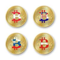 Four golden Bitcoin coins with flags of Austria Croatia Slovenia and Switzerland Vector cryptocurrency icons isolated on white background Blockchain technology symbol