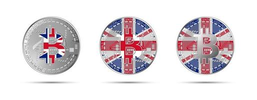 Three Bitcoin crypto coins with the flag of Great Britain Money of the future Modern cryptocurrency vector illustration