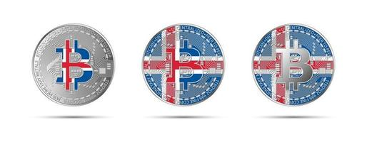 Three Bitcoin crypto coins with the flag of Iceland Money of the future Modern cryptocurrency vector illustration