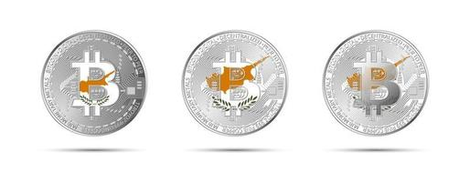 Three Bitcoin crypto coins with the flag of Cyprus Money of the future Modern cryptocurrency vector illustration