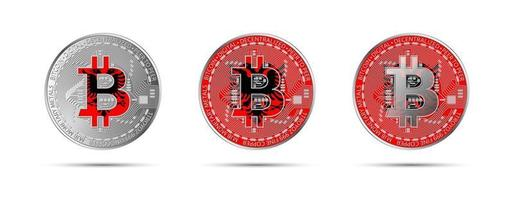 Three Bitcoin crypto coins with the flag of Albania Money of the future Modern cryptocurrency vector illustration