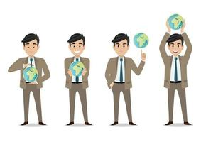 Businessman cartoon character and save the world or concept with set of four poses vector