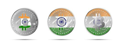 Three Bitcoin crypto coins with the flag of India Money of the future Modern cryptocurrency vector illustration