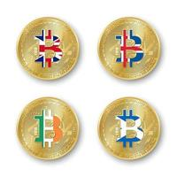 Four golden Bitcoin coins with flags of Britain Iceland Ireland and Scotland Vector cryptocurrency icons isolated on white background Blockchain technology symbol