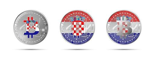 Three Bitcoin crypto coins with the flag of Croatia Money of the future Modern cryptocurrency vector illustration
