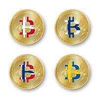 cuatro monedas de oro bitcoin con banderas de dinamarca finlandia noruega y suecia iconos de criptomonedas vectoriales aislados sobre fondo blanco símbolo de tecnología blockchain vector