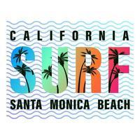 camisa con estampado de letras de surf california vector