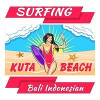 camisa con estampado de bikini de chica surfista vector