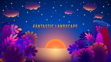 Fantastic Sunrise Landscape Colorful Gradient Background vector