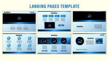 plantilla de páginas de aterrizaje web degradado azul vector