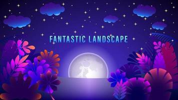 Fantastic Moon Landscape Colorful Gradient Background vector