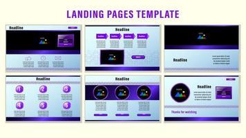 plantilla de páginas de aterrizaje web de adorno púrpura vector