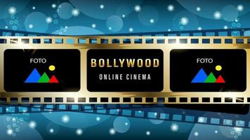 Bollywood golden film background vector