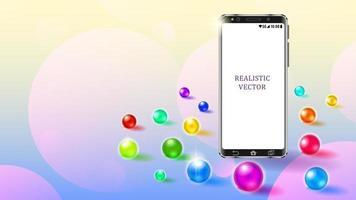 Realistic Smartphone colorful glass balls vector