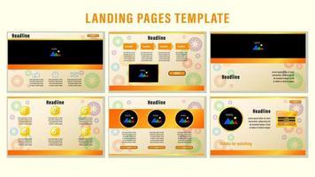 plantilla de páginas de aterrizaje web naranja vector