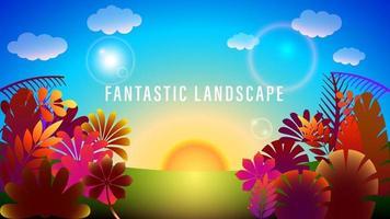 Fantastic Sunset Landscape Colorful Gradient Background vector