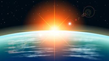 Realistic sunrise in earth orbit vector