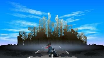 girl  apocalyptic destroyed city vector